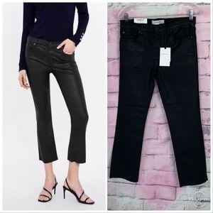 Zara the boot cut in coated black denim jeans 6